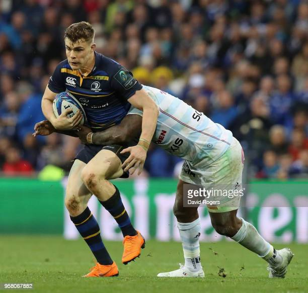 Garry Ringrose of Leinster is tackled during the European Rugby Champions Cup Final match between Leinster Rugby and Racing 92 at San Mames Stadium...