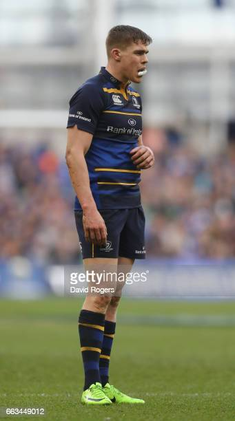 Garry Ringrose of Leinster looks on during the European Rugby Champions Cup match between Leinster and Wasps at the Aviva Stadium on April 1 2017 in...