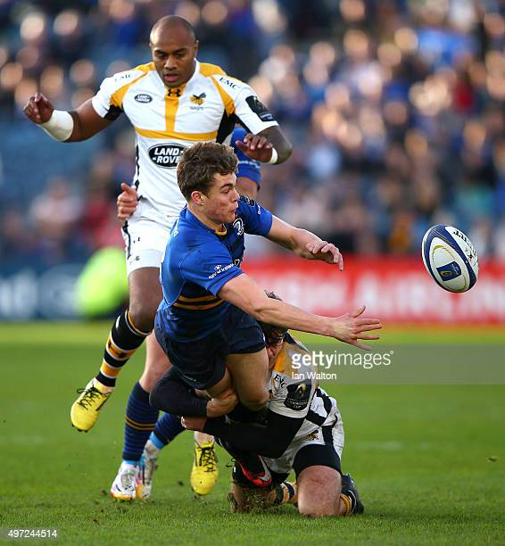 Garry Ringrose of Leinsteris is tackled by Ben Jacobs of Wasps during the European Rugby Champions Cup match between Leinster Rugby and Wasps at the...