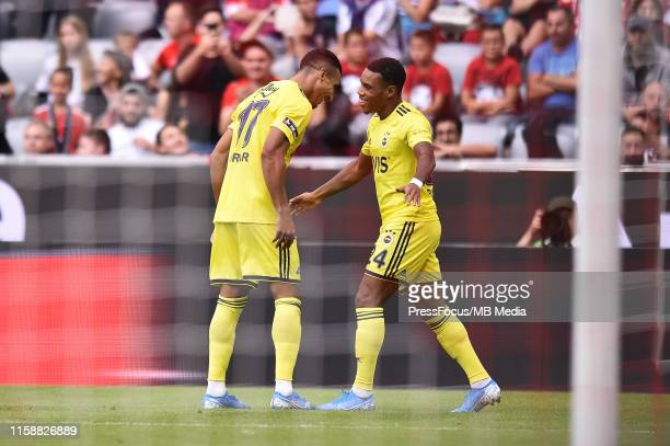 Garry Rodrigues of Fenerbahce SK celebrates scoring a goal with team mates during the Audi cup 2019 3rd place match between Real Madrid and...
