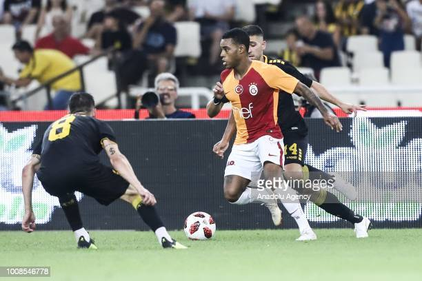 Garry Rodrigues of Galatasaray in action against of Andre Simoes of AEK Athens during friendly football game between AEK Athens and Galatasaray in...
