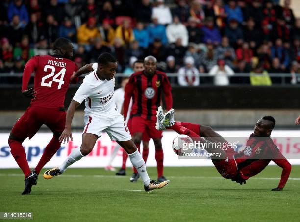 Garry Rodrigues of Galatasaray in action against Samuel Mensah Mensiro of Ostersund during the UEFA Europa League 2nd Qualifying Round soccer match...