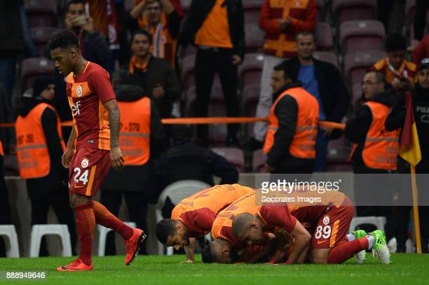 Garry Rodrigues of Galatasaray Younes Belhanda of Galatasaray Yasin Oztekin of Galatasaray Sofiane Feghouli of Galatasaray during the Turkish Super...
