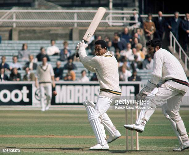 Garry Sobers batting for Nottinghamshire during the John Player League match between Lancashire and Nottinghamshire at Old Trafford Manchester 28th...