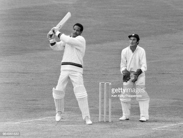 Garry Sobers of West indies batting for Rest of the World XI during his innings of 80 runs in the 3rd match of the five-match series between England...
