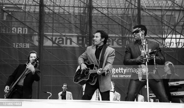 Garry Tallent Bruce Springsteen Clarence Clemons of the E Street Band perform on stage at Feyenoord Stadium De Kuip Rotterdam Netherlands 28th June...