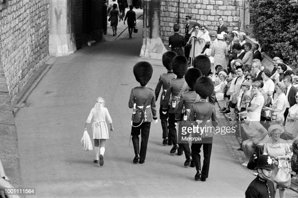 Garter Procession at Windsor Castle A little girl joins the Guards as they march into Windsor Castle 15th June 1970
