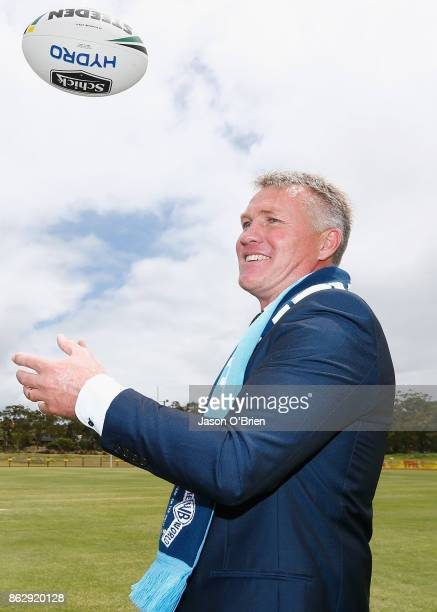 Garth Brennan poses for a photo after being announced as the new Gold Coast Titans NRL coach at Titans Centre of Excellence on October 19 2017 in...
