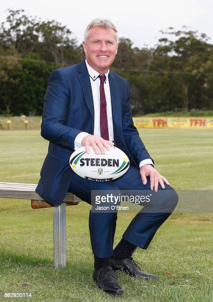 Garth Brennan speaks to the media after being announced as the new Gold Coast Titans NRL coach at Titans Centre of Excellence on October 19 2017 in...