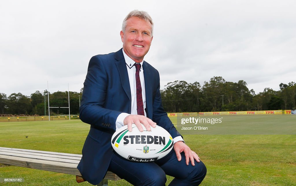 Garth Brennan speaks to the media after being announced as the new Gold Coast Titans NRL coach at Titans Centre of Excellence on October 19, 2017 in Gold Coast, Australia.