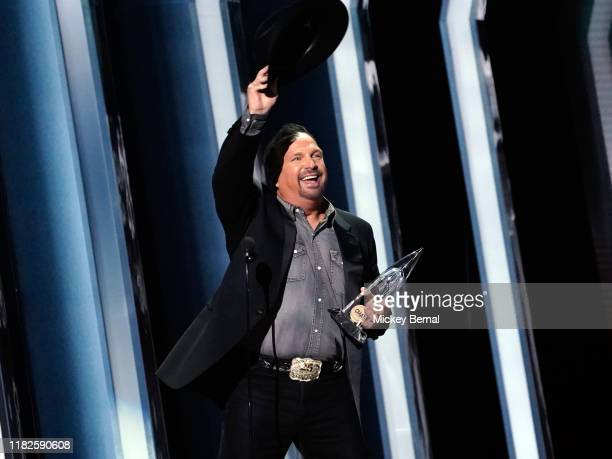 Garth Brooks accepts an award at the 53rd annual CMA Awards at the Bridgestone Arena on November 13 2019 in Nashville Tennessee