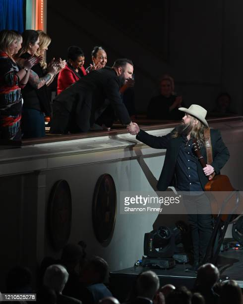 Garth Brooks greets Chris Stapleton at The Library of Congress Gershwin Prize tribute concert at DAR Constitution Hall on March 04 2020 in Washington...