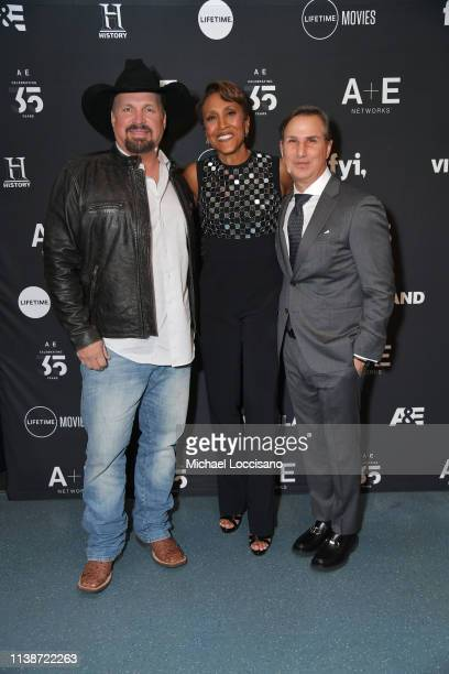"""Garth Brooks Robin Roberts Executive Producer of Lifetime's """"Robin Roberts Presents"""" and AE Networks Group President Paul Buccieri attend 2019 AE..."""