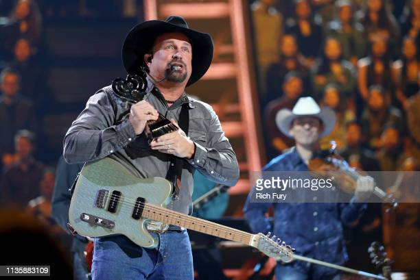 Garth Brooks speaks on stage at the 2019 iHeartRadio Music Awards which broadcasted live on FOX at the Microsoft Theater on March 14, 2019 in Los...