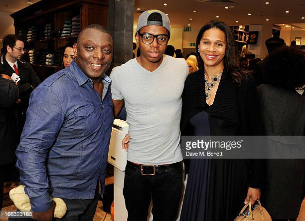 Garth Crooks son Preye and wife Funkazi attend as Jazzie B launches the Soul II Soul 'Classics' Collection at Harvey Nichols on April 11 2013 in...