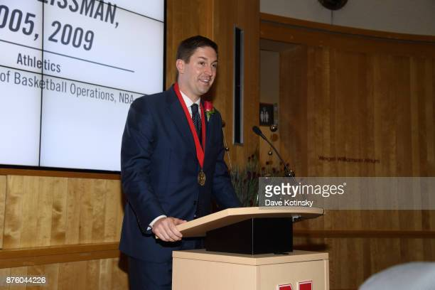 Garth Glissman Senior Director of Basketball Operations at NBA at the University of NebraskaLincoln after accepting the 2017 Alumni Master Medallion...