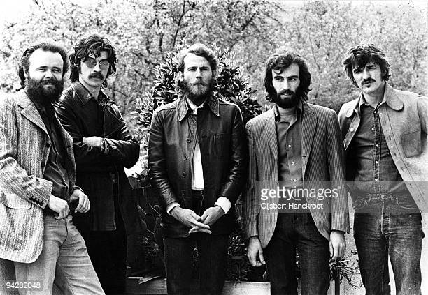 Garth Hudson Robbie Robertson Levon Helm Richard Manuel and Rick Danko of The Band pose for a group portrait in London in June 1971