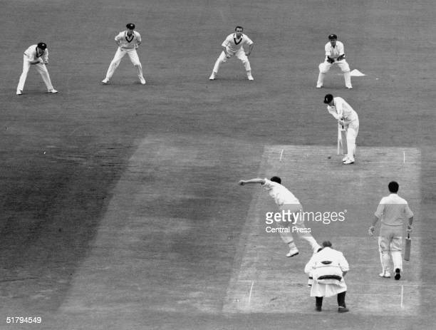 Garth McKenzie of Australia bowls to Geoff Boycott, during England's first innings in the 1st Test between England and Australia at Trent Bridge, 4th...