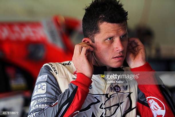 Garth Tander driver of the Holden Racing Team Holden during the top ten shootout for the Gold Coast 600 which is round 12 of the V8 Supercars...
