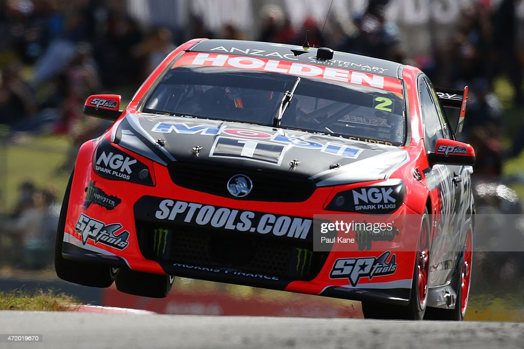 Garth Tander drives the #2 Holden Racing Team Holden Commodore VF during practice for race 9 during the V8 Supercars - Perth Supersprint at Barbagallo Raceway on May 3, 2015 in Perth, Australia.