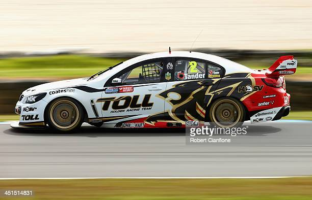 Garth Tander drives the Holden Racing Team Holden during race 32 of the V8 Supercars Championship Series at Phillip Island Grand Prix Circuit on...