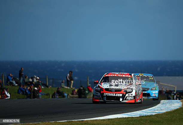 Garth Tander drives the Holden Racing Team Holden during race 35 at the Phillip Island 400 which is part of the V8 Supercar Championship Series at...