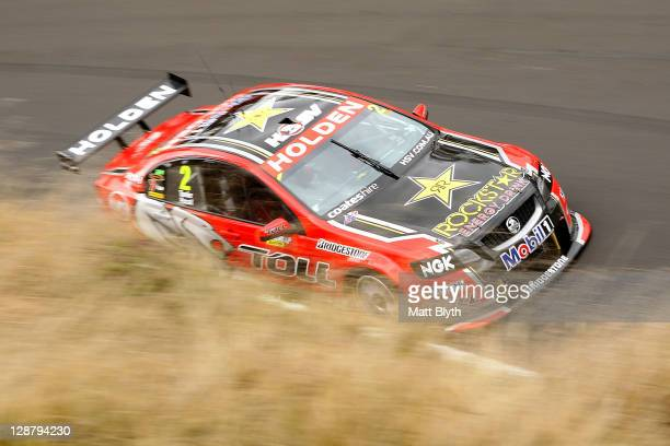 Garth Tander drives the Toll Holden Racing Team Holden during the Bathurst 1000 which is round 10 of the V8 Supercars Championship Series at Mount...