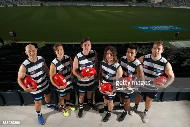 Gary Ablett Lachie Fogarty Charlie Constable Gryan Miers Tim Kelly and Stewart Crameri pose for a photo during a Geelong Cats Media Session at GMHBA...
