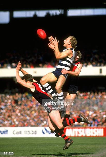 Gary Ablett of Geelong jumps for the mark during the VFL Football match against Essendon in Geelong Australia Mandatory Credit Allsport Australia...
