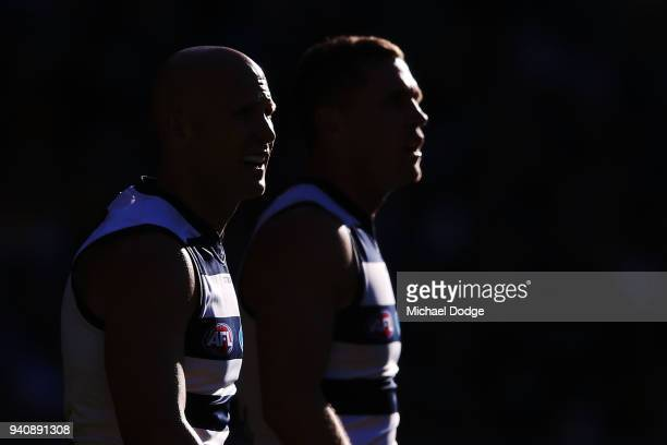 Gary Ablett of the Cats and Joel Selwood look upfield during the round two AFL match between the Geelong Cats and the Hawthorn Hawks at Melbourne...