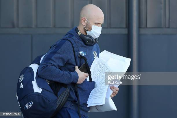 Gary Ablett of the Cats arrives at Perth Airport on July 11, 2020 in Perth, Australia. Collingwood and Geelong flew from Sydney to Perth today, where...