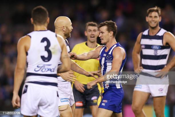 Gary Ablett of the Cats celebrates a goal when taunting Kayne Turner of the Kangaroos during the round eight AFL match between the North Melbourne...