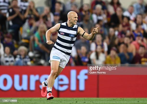 Gary Ablett of the Cats celebrates after scoring a goal during the AFL 2nd Preliminary Final match between the Brisbane Lions and the Geelong Cats at...