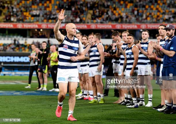 Gary Ablett of the Cats farewells fans after the 2020 AFL Grand Final match between the Richmond Tigers and the Geelong Cats at The Gabba on October...