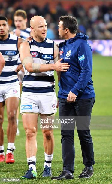 Gary Ablett of the Cats is pictured with Cats head coach Chris Scott after the round 17 AFL match between the Adelaide Crows and the Geelong Cats at...