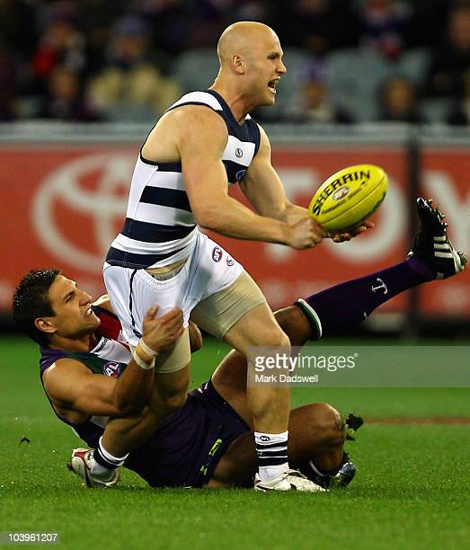 Gary Ablett of the Cats is tackled by Matthew Pavlich of the Dockers during the AFL Second Semi Final match between the Geelong Cats and the...