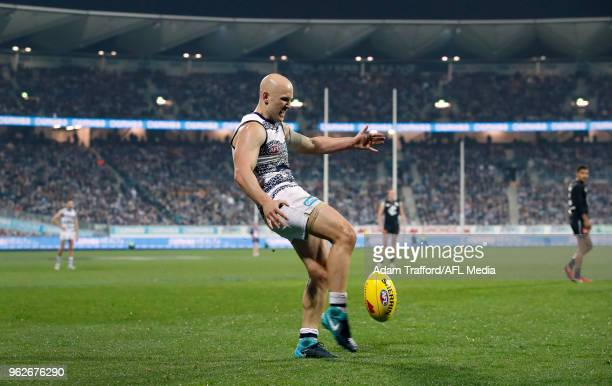 Gary Ablett of the Cats kicks the ball during the 2018 AFL round 10 match between the Geelong Cats and the Carlton Blues at GMHBA Stadium on May 26...