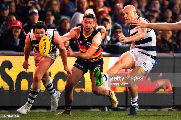 Gary Ablett of the Cats kicks the ball during the round 17 AFL match between the Adelaide Crows and the Geelong Cats at Adelaide Oval on July 12 2018...