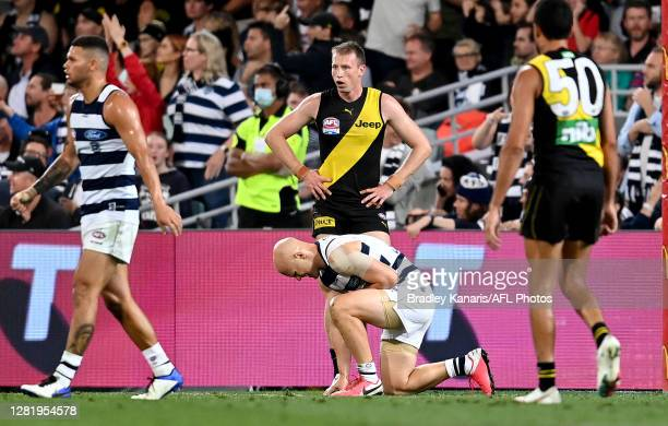 Gary Ablett of the Cats looks to be in pain during the 2020 AFL Grand Final match between the Richmond Tigers and the Geelong Cats at The Gabba on...
