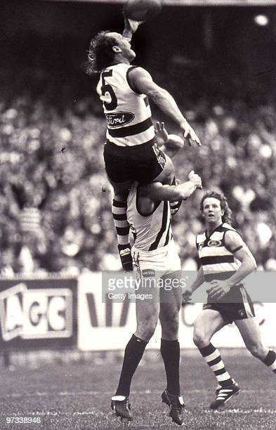 Gary Ablett of the Cats marks over Gary Pert of the Magpies during the round seven AFL match between Geelong Cats and Collingwood Magpies in...
