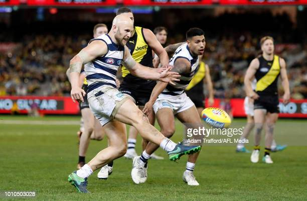 Gary Ablett of the Cats misses a shot on goal to give the cats the lead during the 2018 AFL round 20 match between the Richmond Tigers and the...