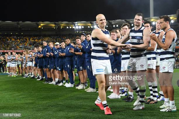 Gary Ablett of the Cats shakes hands with Patrick Dangerfield of the Cats as he walks off in his final game during the 2020 AFL Grand Final match...