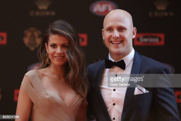 Gary Ablett of the Suns and Jordan Ablett arrive ahead of the 2017 Brownlow Medal at Crown Entertainment Complex on September 25 2017 in Melbourne...
