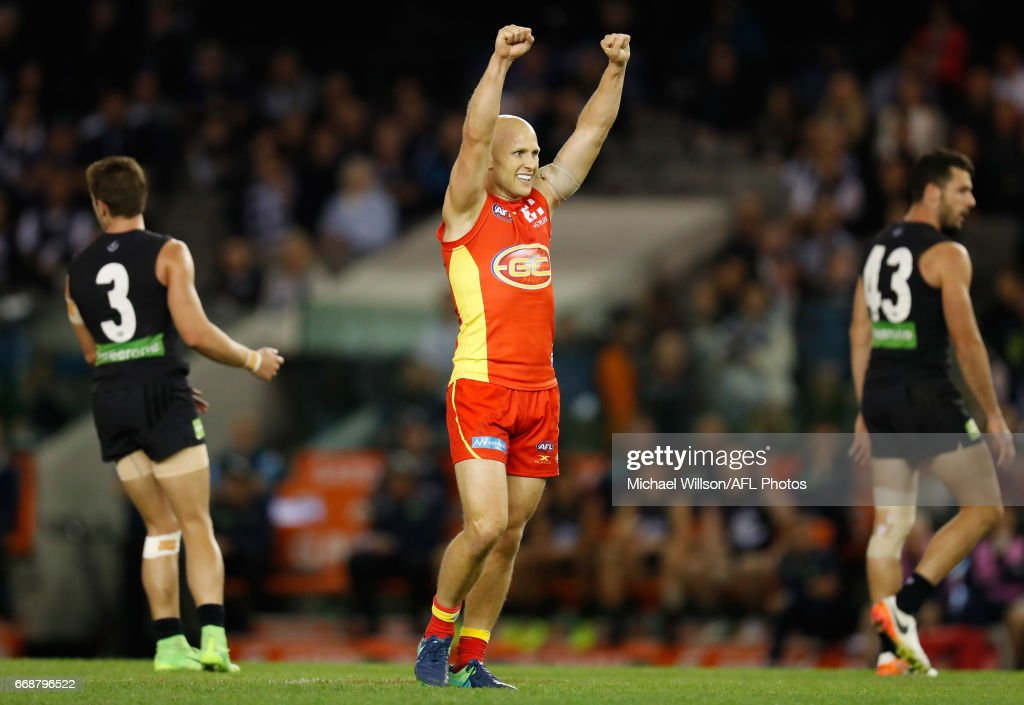 Gary Ablett of the Suns celebrates a goal during the 2017 AFL round 04 match between the Carlton Blues and the Gold Coast Suns at Etihad Stadium on April 15, 2017 in Melbourne, Australia.