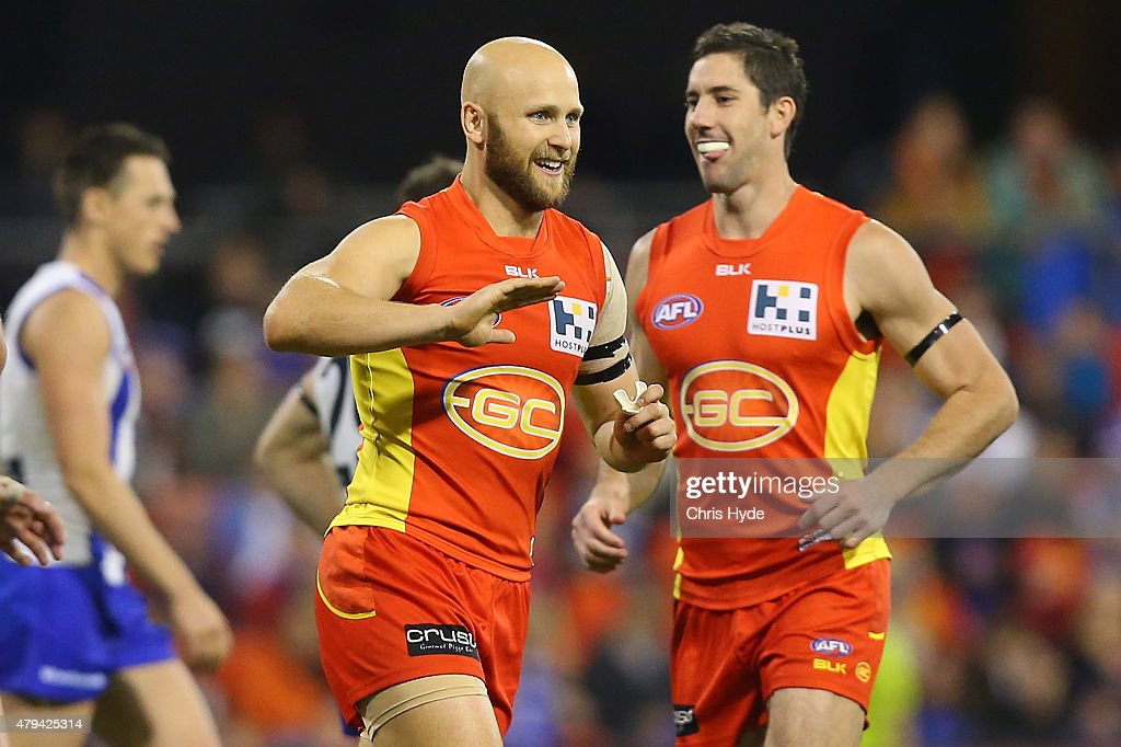 Gary Ablett of the Suns celebrates a goal during the round 14 AFL match between the Gold Coast Suns and the North Melbourne Kangaroos at Metricon Stadium on July 4, 2015 in Gold Coast, Australia.