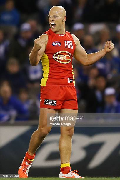 Gary Ablett of the Suns celebrates a goal during the round seven AFL match between the North Melbourne Kangaroos and the Gold Coast Suns at Etihad...