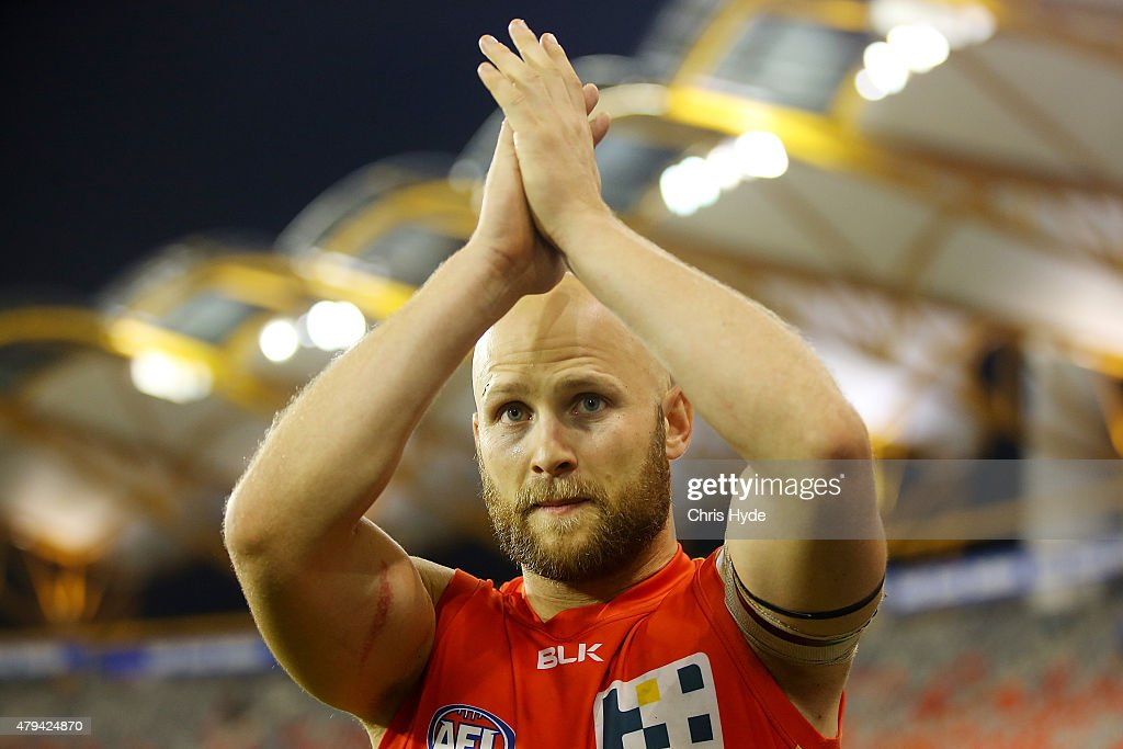 Gary Ablett of the Suns celebrates winning the round 14 AFL match between the Gold Coast Suns and the North Melbourne Kangaroos at Metricon Stadium on July 4, 2015 in Gold Coast, Australia.