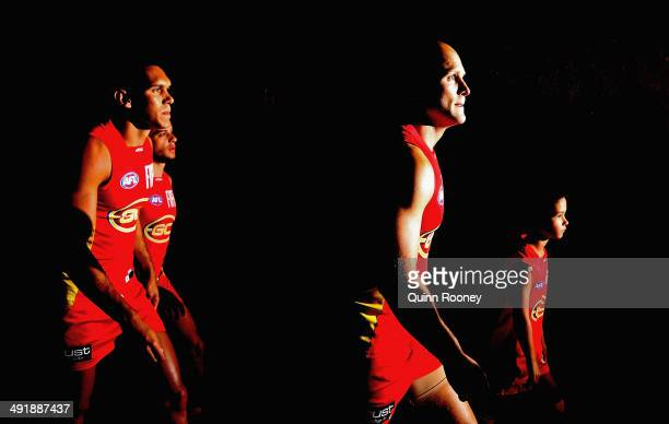 Gary Ablett of the Suns leads his team out onto the field during the round nine AFL match between the St Kilda Saints and the Gold Coast at Etihad...