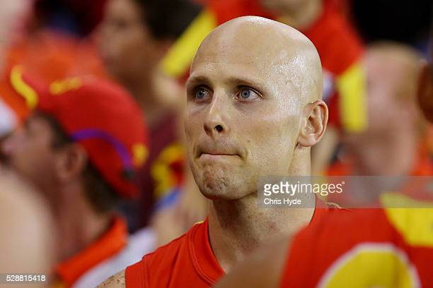 Gary Ablett of the Suns looks on after losing the round seven AFL match between the Gold Coast Suns and the Melbourne Demons at Metricon Stadium on...