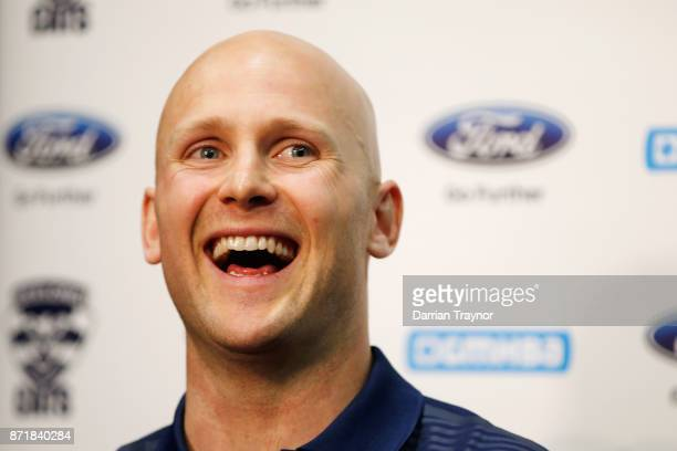 Gary Ablett speaks to the media during a Geelong Cats AFL media opportunity at GMBHA Stadium on November 9 2017 in Geelong Australia
